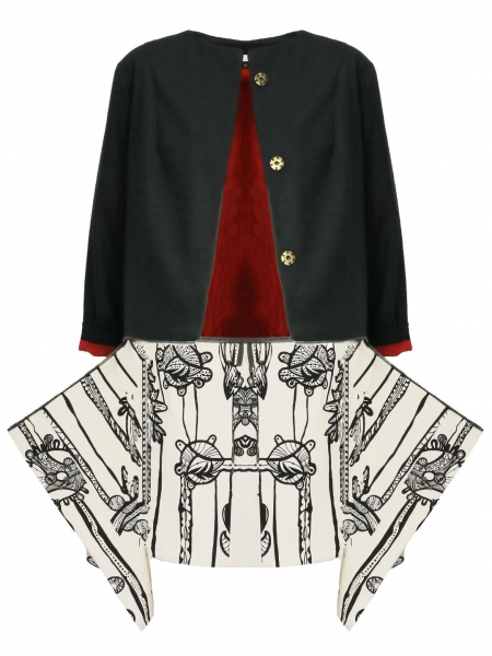 Black and butter-white screen-printed jacket Oana Manolescu