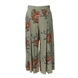 Midi floral printed cotton skirt-trousers Oana Manolescu