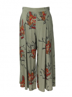 Midi floral printed cotton skirt-trousers Oana Manolescu