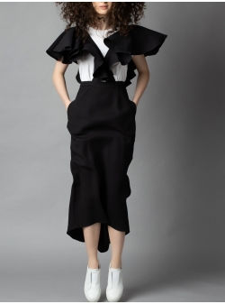 Black silk dress with ruffles Parlor