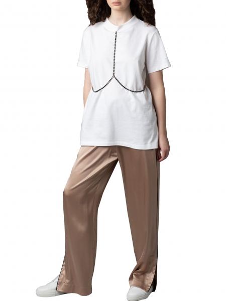 Pantaloni maro din matase Parlor