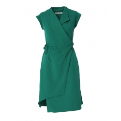 Green dress with asymmetric hem and collar Larisa Dragna