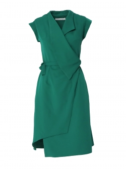 Green dress with asymmetric hem and collar Larisa Dragna