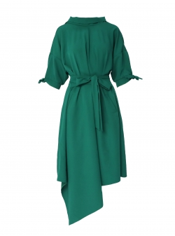 Green asymmetric dress Larisa Dragna