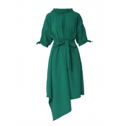 Green asymmetric dress Larisa Dragna