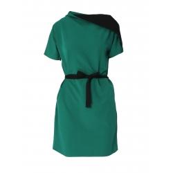 Rochie verde cu guler asimetric Larisa Dragna