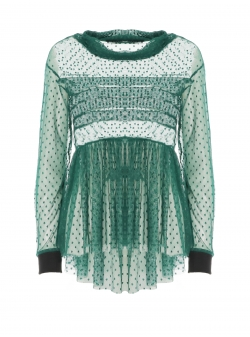 Green tull blouse with pleated chest Larisa Dragna
