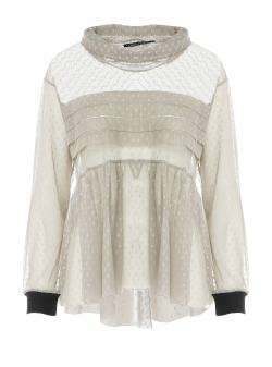 White tull blouse with pleated chest Larisa Dragna