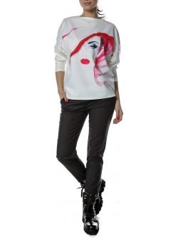 Bluza alba cu imprimeu digital colorat Entino
