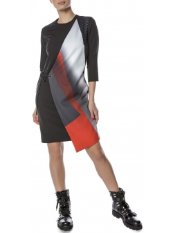 Asymmetric dress with digital print Entino