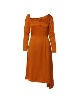 Asymmetric Orange Dress with Front Pleats DALB