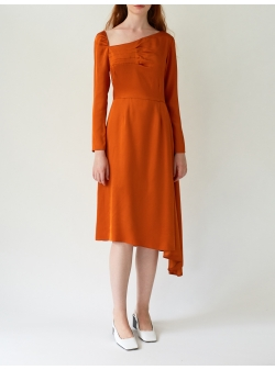 Asymmetric Orange Dress with Front Pleats DALB