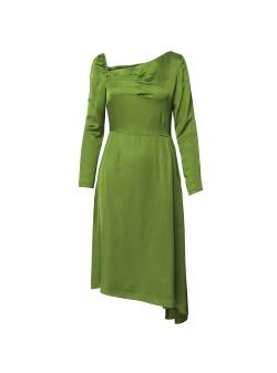 Asymmetric Pesto Dress with Front Pleats DALB