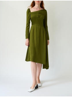 Asymmetric Pesto Dress with Front Pleats DALB