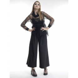 Black tull blouse with pleated chest Larisa Dragna
