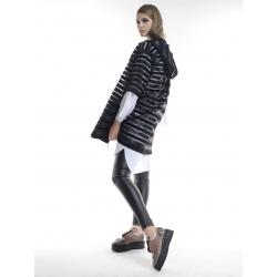Midi black vest with hoodie Larisa Dragna