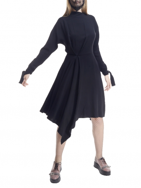 Midi dress with ribbons on the sleeves Larisa Dragna