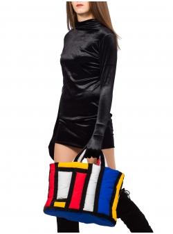 Geanta cu grafica multicolora Mondrian Z Puffers