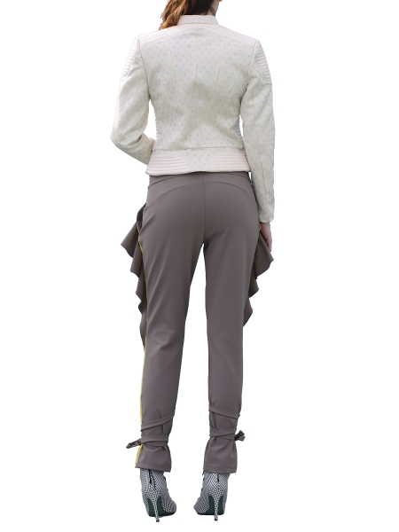 Gray Trousers With Ruffles