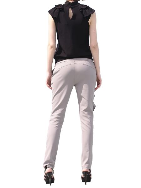 Pantaloni gri cu volane laterale