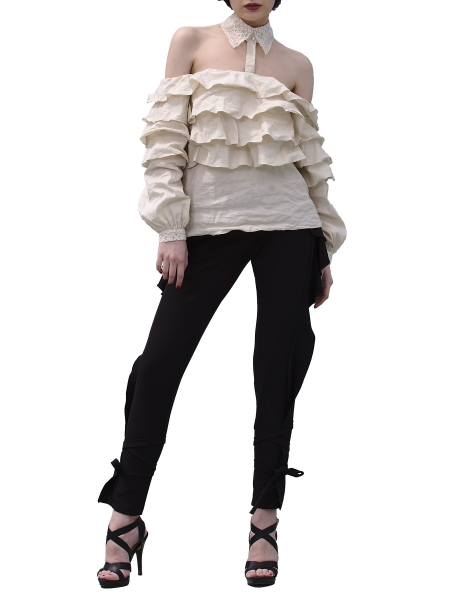 Black Trousers With Sides Ruffles