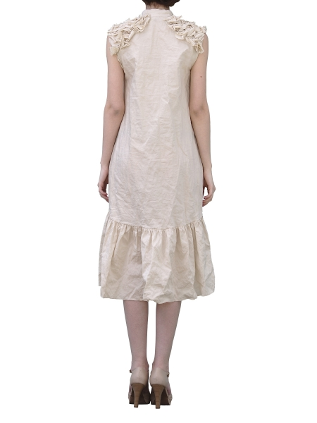 Beige Loose Fit Dress With Shoulder Panels