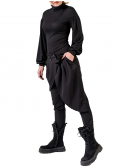 Black Trousers with Ruffles Florentina Giol