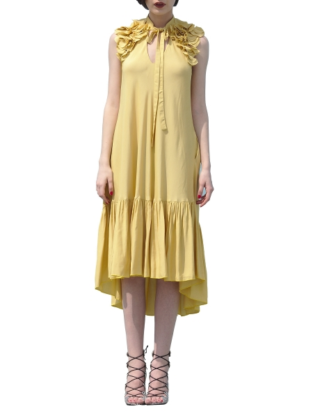 Yellow Loose Fit Dress With Shoulder Panels