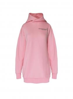Pink long sweatshirt with hood ISSO