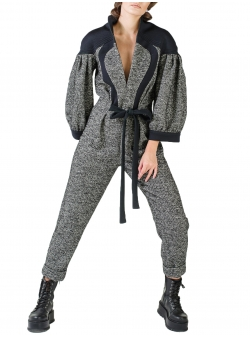 Grey wool jumpsuit with contrasting panels Florentina Giol