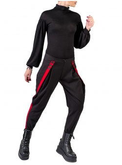Black viscose trousers with contrasting panel Florentina Giol