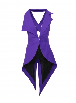 Asymmetric purple vest Larisa Dragna