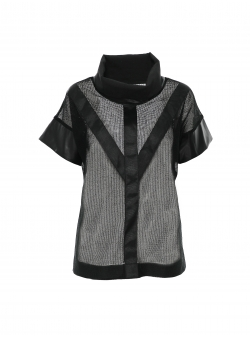 Black mesh top with strips Larisa Dragna