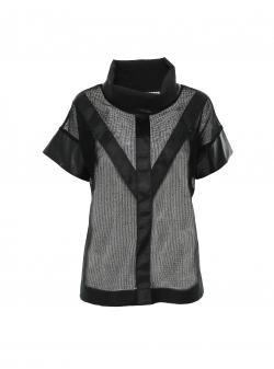 Black mesh top with strips Larisa Dragna