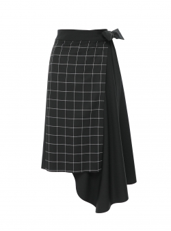 Checked asymmetric skirt Larisa Dragna