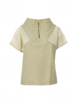 Bluza din in cu detalii geometrice Larisa Dragna