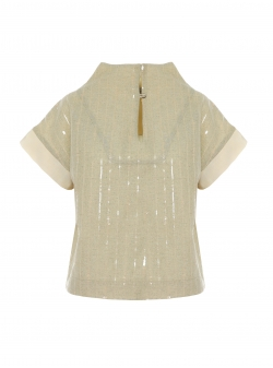 Linen top with geometric slevees Larisa Dragna
