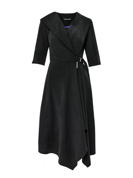 Rochie neagra din viscosa cu catarama Larisa Dragna