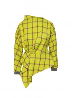 Bluza galbena asimetrica in carouri Larisa Dragna