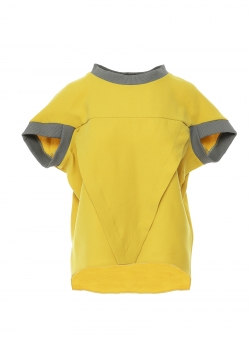 Yellow viscose top with contrasting details Larisa Dragna
