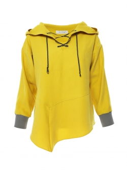 Yellow hooded viscose top Larisa Dragna