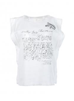 Top alb din bumbac cu imprimeu text Nicoleta Obis
