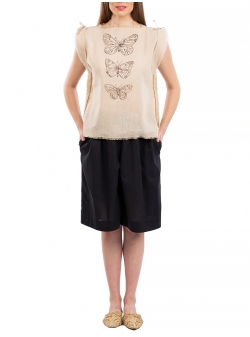 Beige sleeveless top with butterfly print Nicoleta Obis