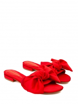 Red satin slippers with bow Ginissima