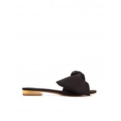 Papuci negri din satin cu funda Ginissima