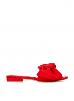 Papuci rosii din satin cu funda Ginissima