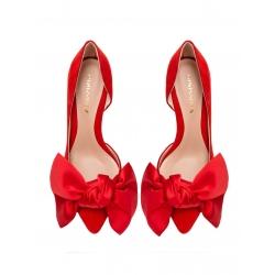 Pantofi rosii din piele intoarsa cu funda Ginissima
