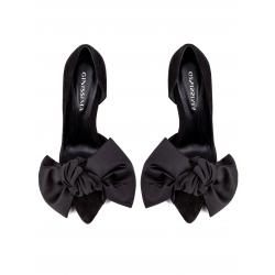 Pantofi negri din piele intoarsa cu funda Ginissima