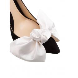 Pantofi negri din piele intoarsa cu funda contrastanta Ginissima