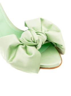 Green satin sandals Ginissima